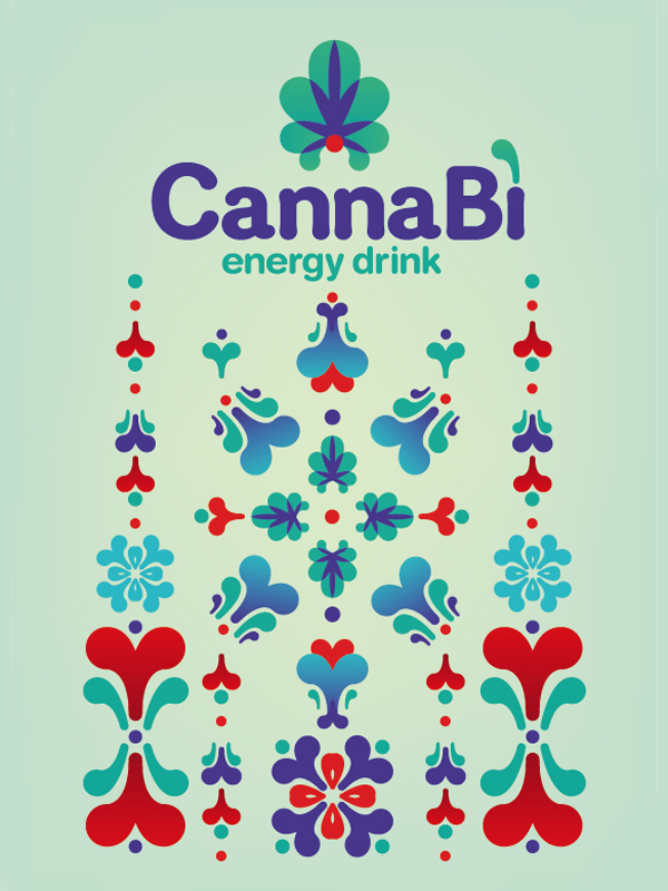 energy drink  pattern graphic colours canna bì cannabis packaging design