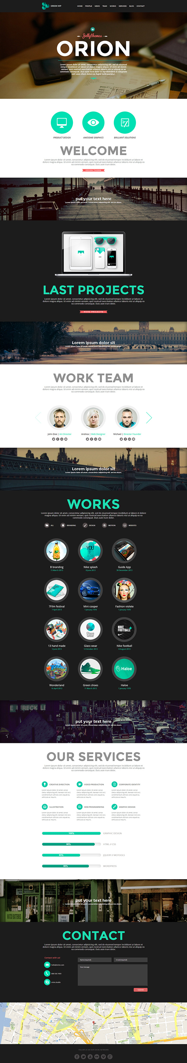 Orion - Responsive One Page WordPress Template