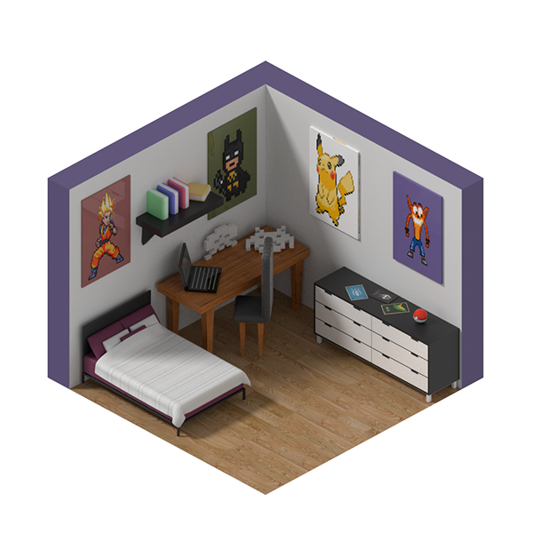 Virtual 3d Home Design Game: Isometric Game Room On Pantone Canvas Gallery