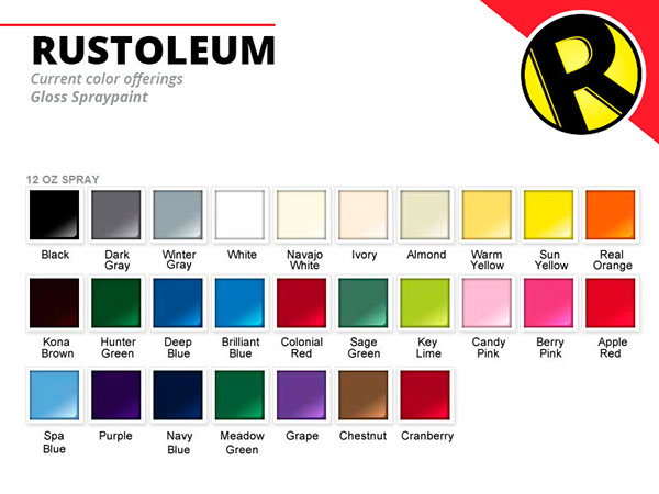 gloss spraypaint color chart. Black Bedroom Furniture Sets. Home Design Ideas