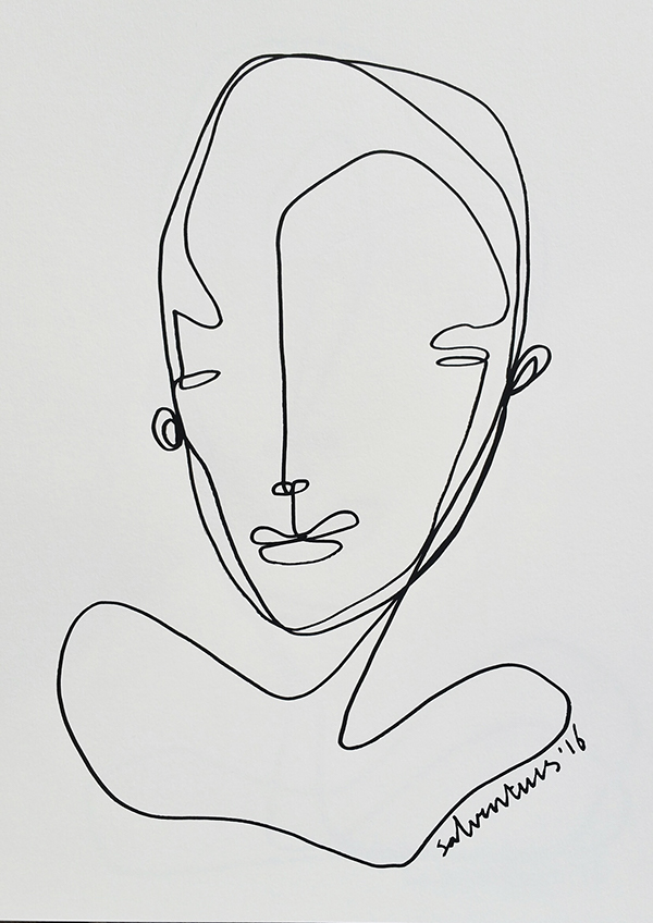 Continuous Line Drawing Of Face : Continuous line drawings solo art daysproject on