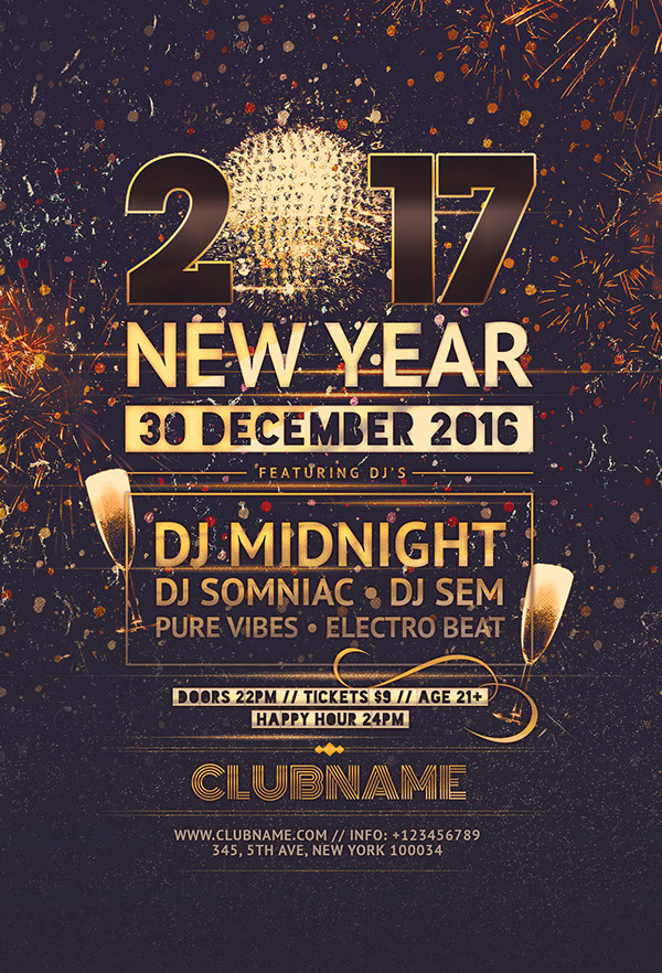 new year flyer template on wacom gallery
