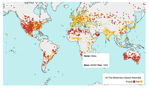 data visualization information graphics meteorites Visualizing