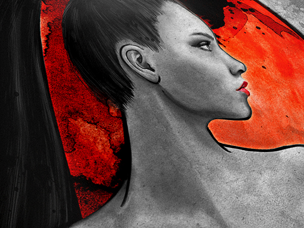 warrior woman red intense Color Pop black and white newsprint paper texture russian Beautiful sexy Propaganda watercolor ink