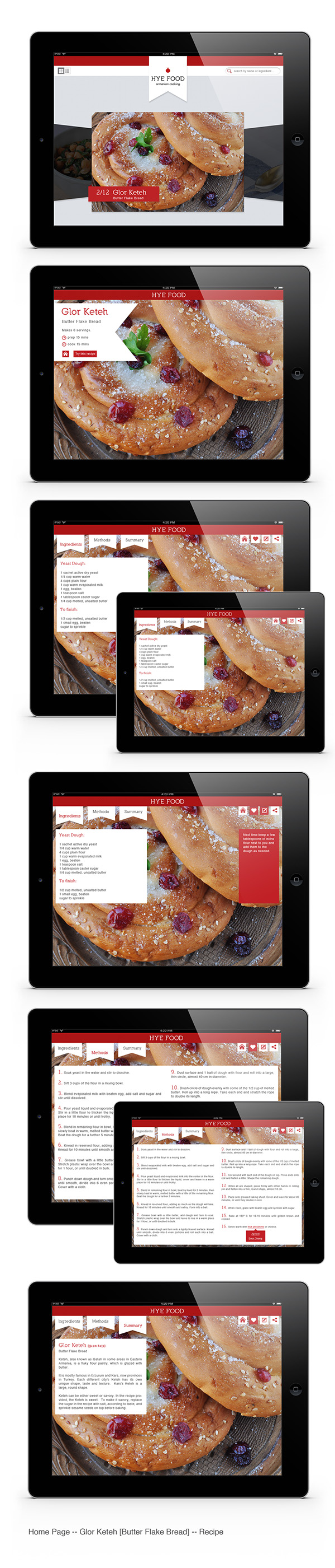 Hye food armenian cooking ipad app on behance for Armenian cuisine cookbook
