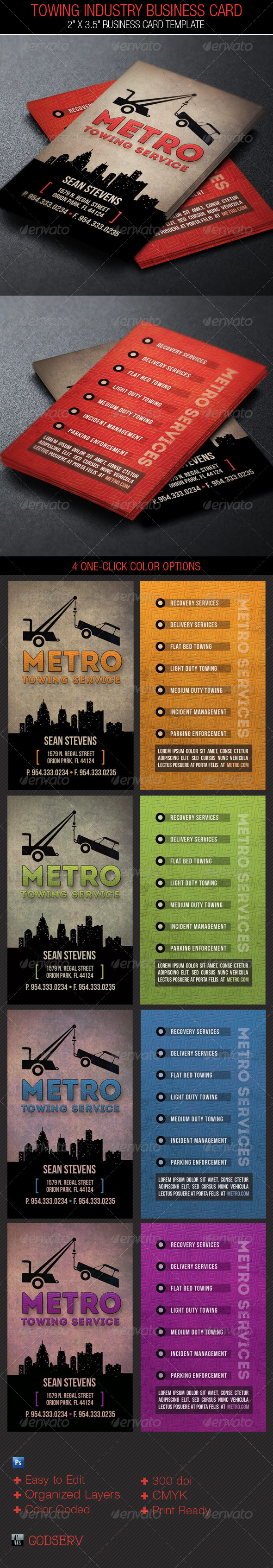 Towing Industry Business Card Template on Behance