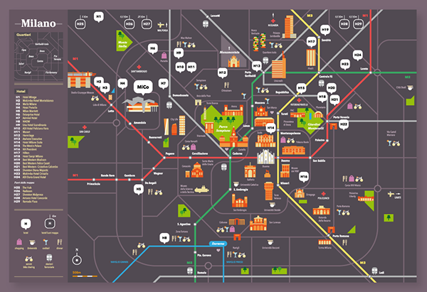 Milano Congressi MiCo The ultimate map of Milan on Behance – Milan Tourist Attractions Map