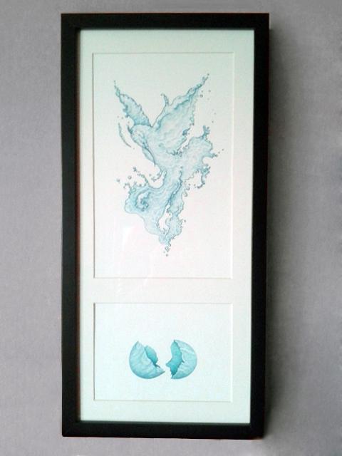 Water Phoenix watercolor egg or chicken marble egg blue bird