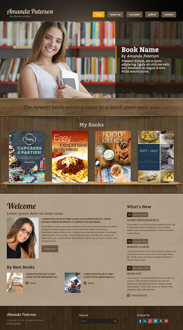 Book Writer Html Template On Behance