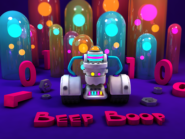 robot Colourful  3D rendering