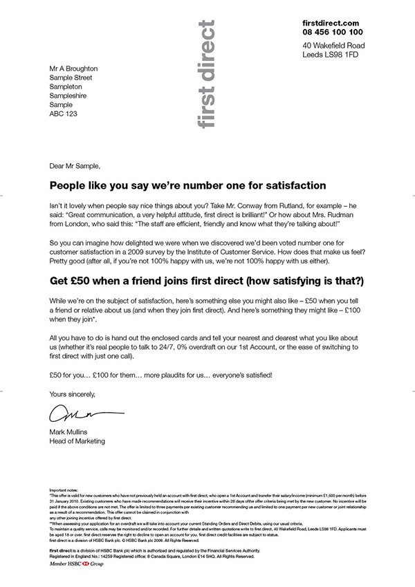 First Direct Customer Satisfaction Letter On Behance