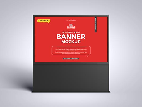 Free LED Display Stand Banner Mockup