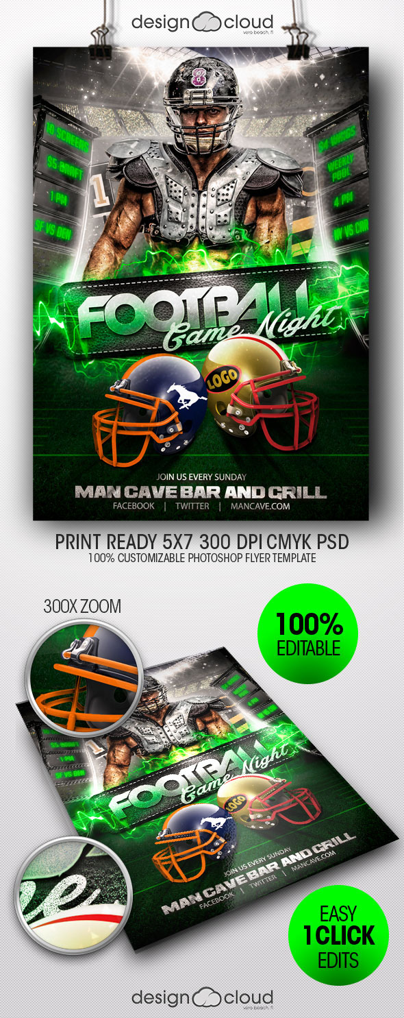 football game night flyer template on behance
