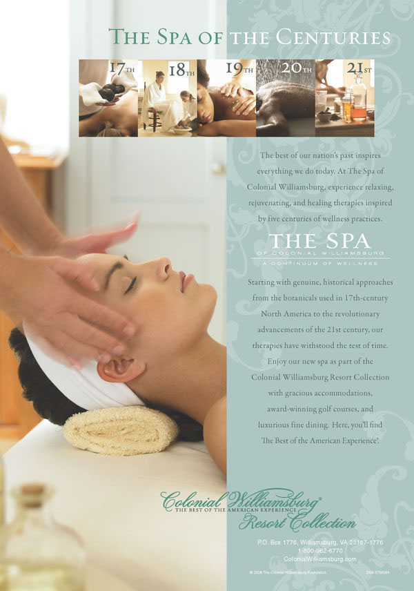 Spa of colonial williamsburg ad on behance for Spa ad asiago