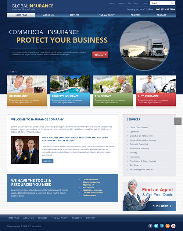 global insurance protect your life today bootstrap temp on behance