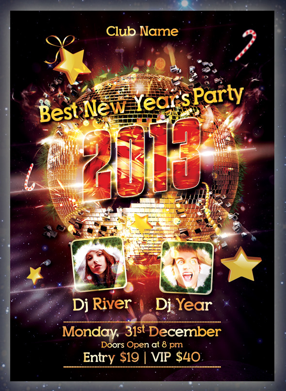 new year party flyer psd on behance