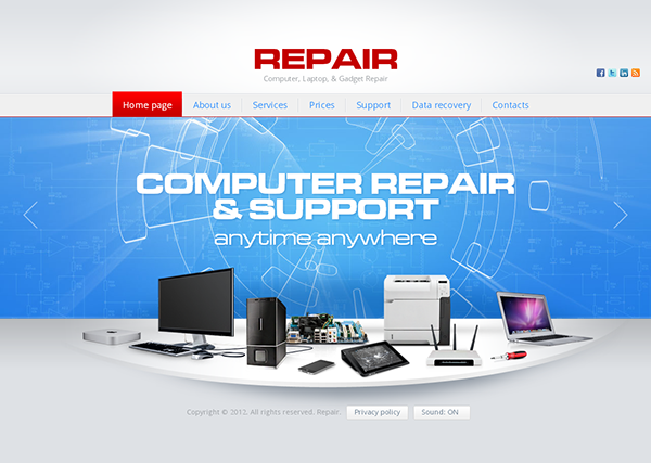 repair computer website template
