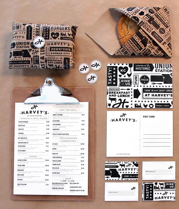 Harveys Union Station kansas city tad carpenter Tad Carpenter Creative restaurant menu design Retail KCMO brand identity logo