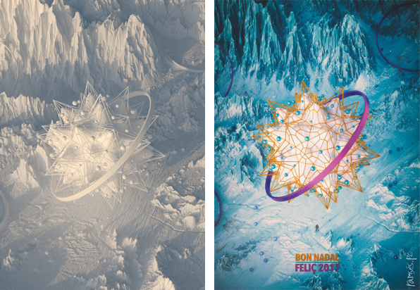 christmas card Christmas snowflake mountains 3D Render cinema 4d render 3d snow