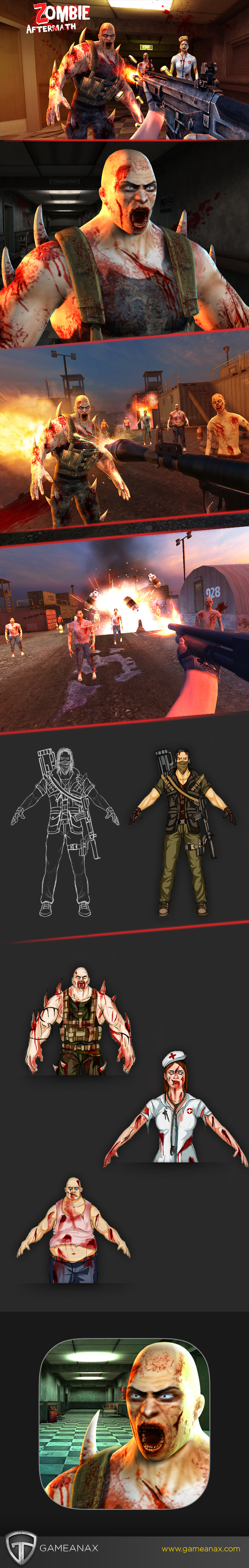 UI ux zombies zombie game mobile game graphics art design 3d art