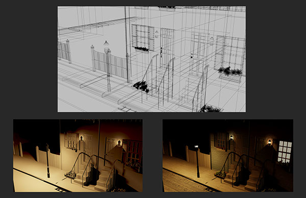 3d modeling 3D Autodesk 3ds max environment Street city Urban night lights Landscape Baltimore wireframe
