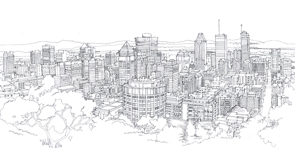 Line Drawing Tattoo London : Line drawing of montreal on behance
