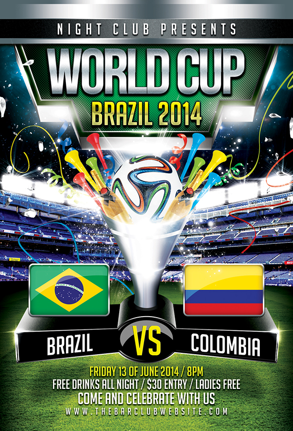 Photoshop Sport Event Flyers FIFA World Cup Brazil 2014 – Sports Flyers Templates Free