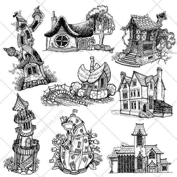 Fantasy Houses Drawing Fantasy Houses Vector Pack on