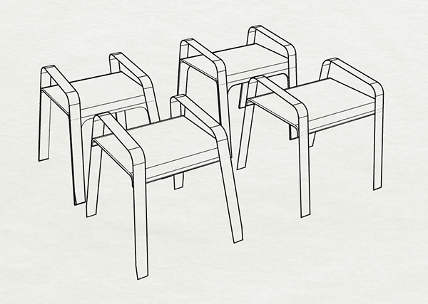 Stool initial ideation for Chaise 66 alvar aalto