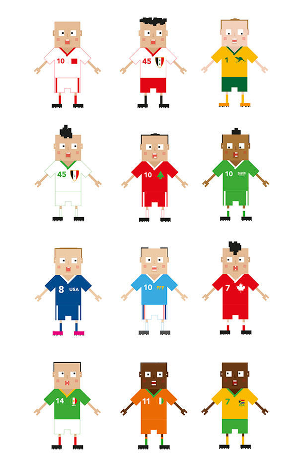 Character Design Ma : Pixel world cup on behance