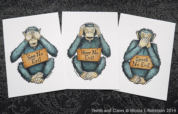 Three Wise Monkeys Drawings Three Wise Monkeys Set of