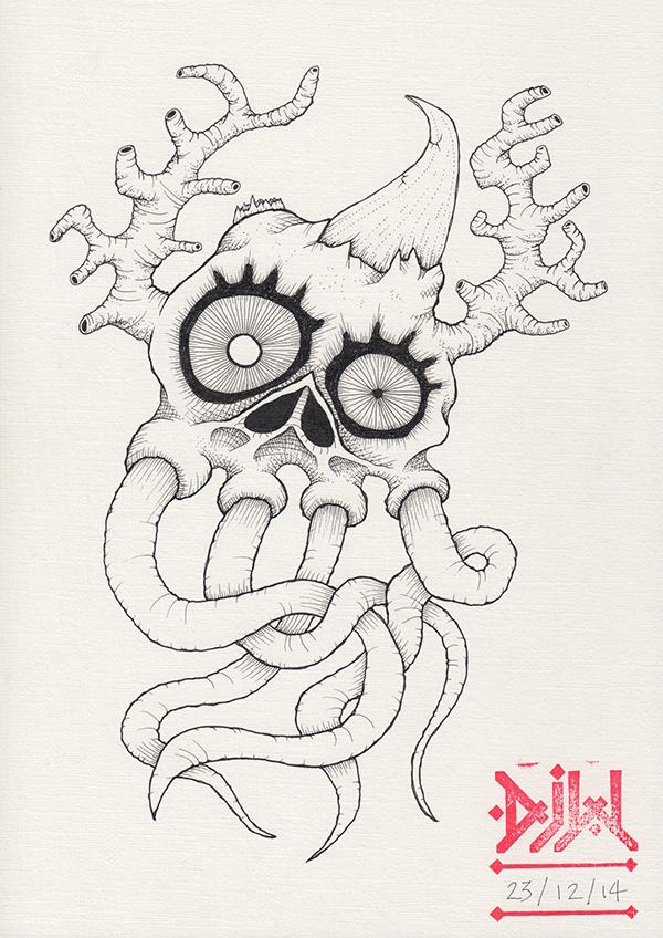 skull tentacles demon ink horns linen