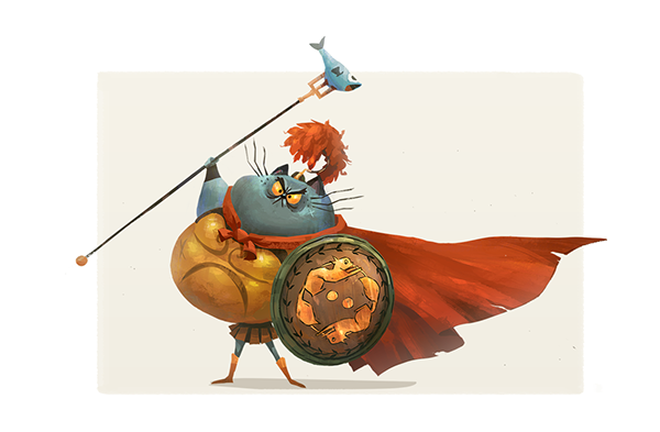Character Design Challenge Gladiator : Gladiator cat on wacom gallery