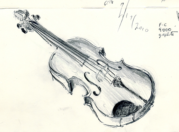 violin pencil sketches