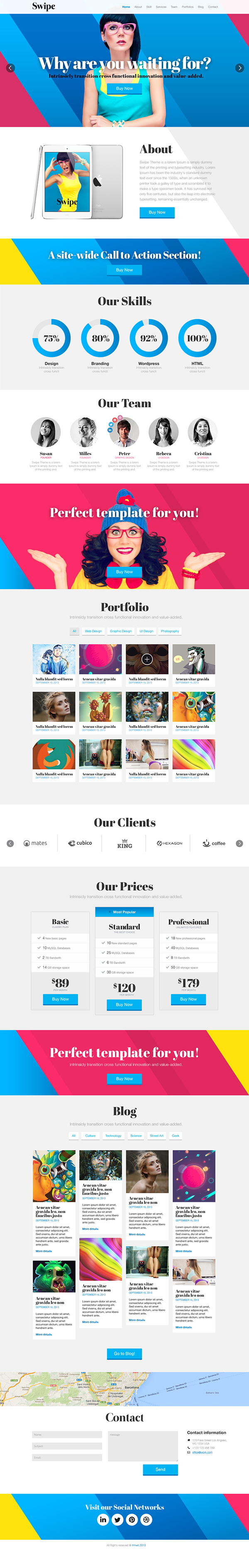 Bootstrap 3.0 clean corporate layer slider modern Multi-purpose One page Responsive wordpress HTML