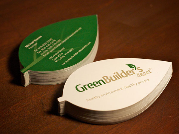 leaf shaped business cards