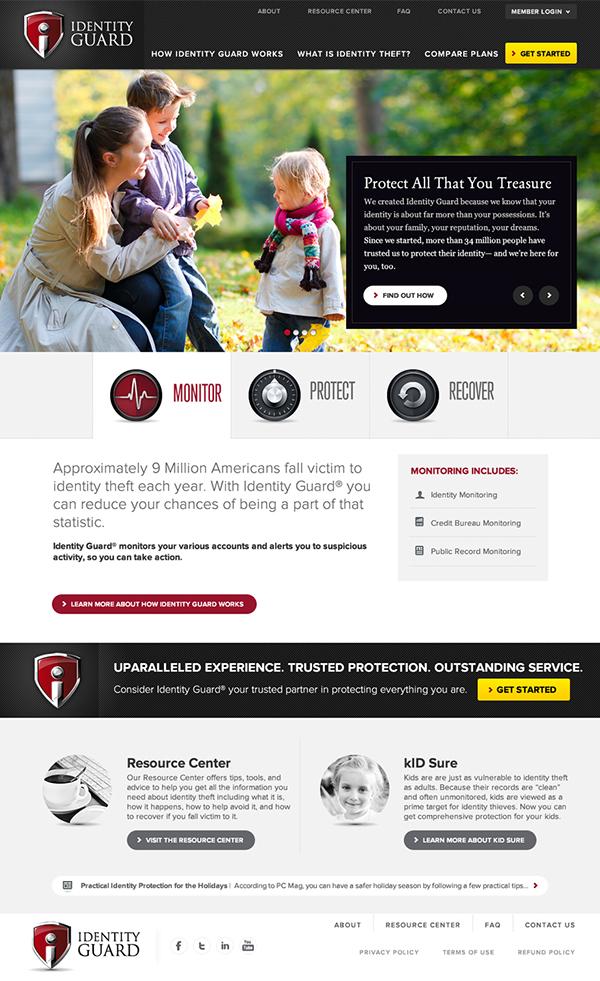 Identity Guard,chrome,red,black,Website,design