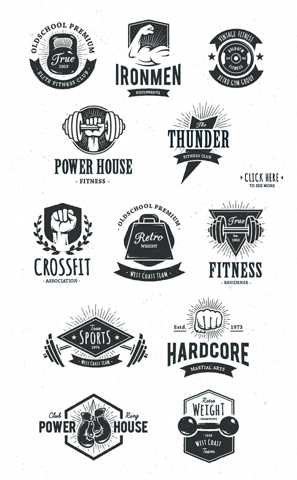 Retro gym emblems pack on behance