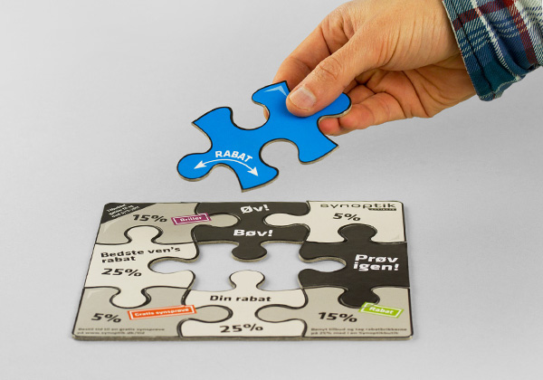 Synoptik business DM puzzle game Direct mail