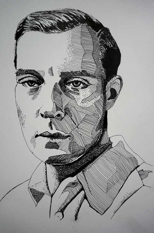 Buster Keaton portrait black & white