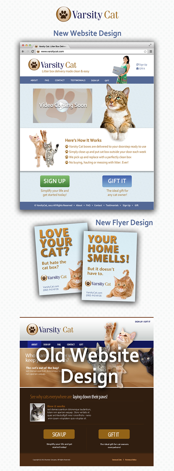 Web Design  Cat redesign Flier design Varsity Cat  Ronpershing.com