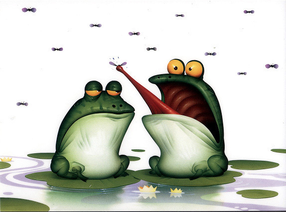 bill mayer frog frogs animals humor book black and white color whimsical