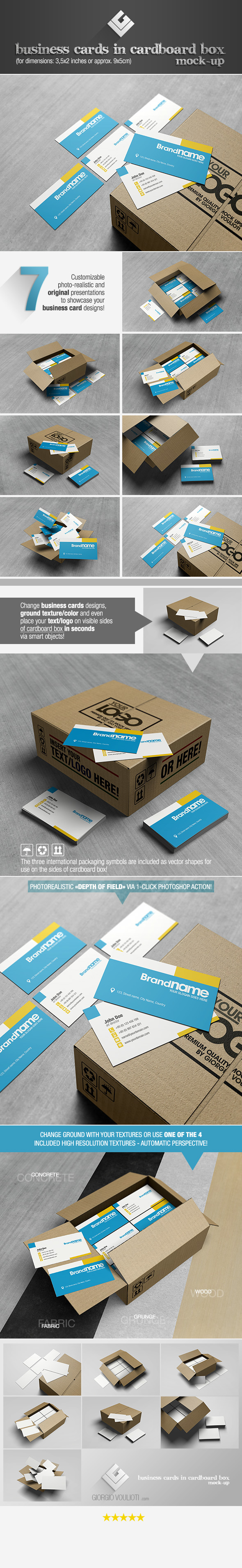 business cards in cardboard box mock up on behance