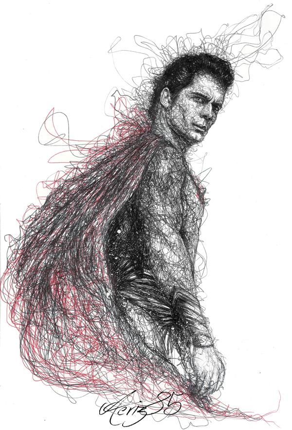 Scribble Drawing Process : Man of steel scribbles pen art on behance
