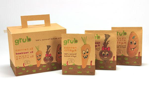 Grub  crisps  kids children range  vegetables healthy  brown paper  bag  box