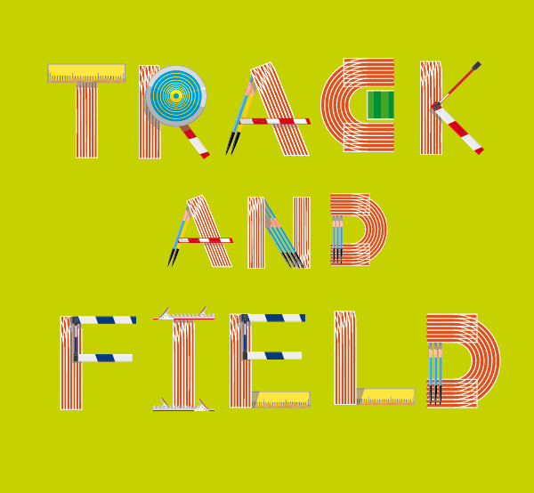 free Typeface font track field illustrated typograhpy experimental athletics atletismo bolt iffa