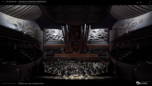 walt disney LAPHIL Esa-pekka Salonen frank gehry Los Angeles Refik anadol video mapping vvvv generative concert hall realtime