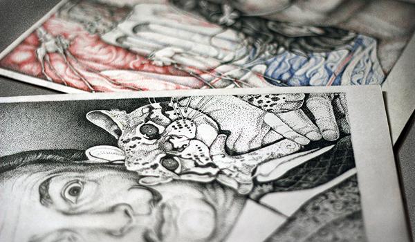 portrait dotwork dali pen ink salvador
