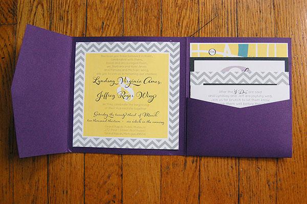 Yellow Grey Wedding Invitations: Modern Purple/Yellow/Gray Chevron Wedding Invitations On