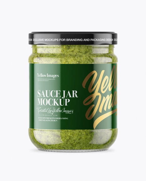 Clear Glass Jar With Pesto Sauce Mockup On Behance